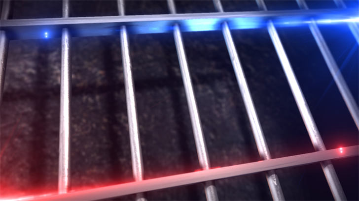 jail bars, blue and red lights