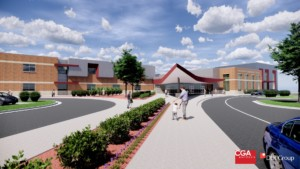 Rendering of the outside of the school on Dover Hill