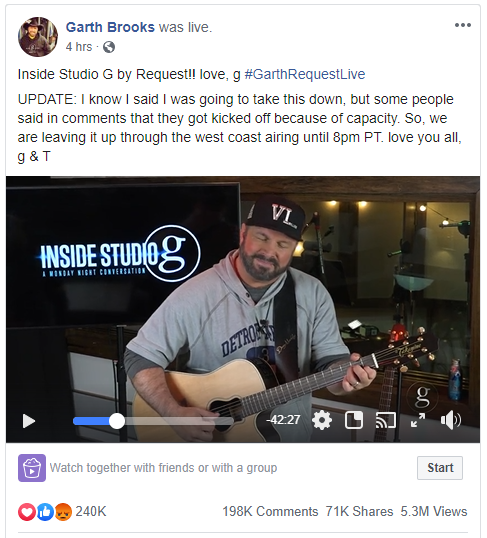 Garth Brooks Went Live On Facebook, March 23, 2020