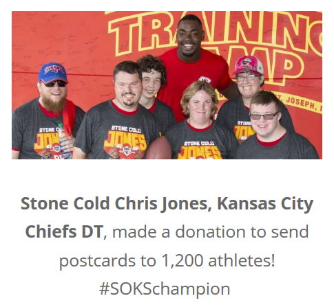 Chris Jones Donates To Kansas Special Olympics, Image From Website