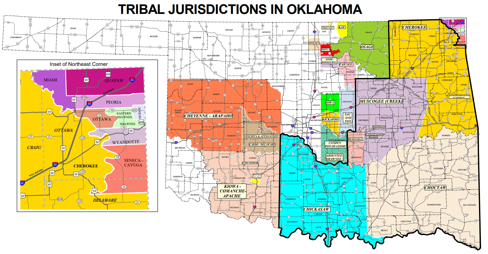 Tribal Jurisdictions In Oklahoma, Map From Odot Website Final