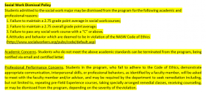 Social Work Dismissal Policy