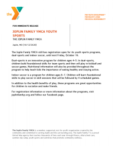 Jfy Youth Sports Press Release