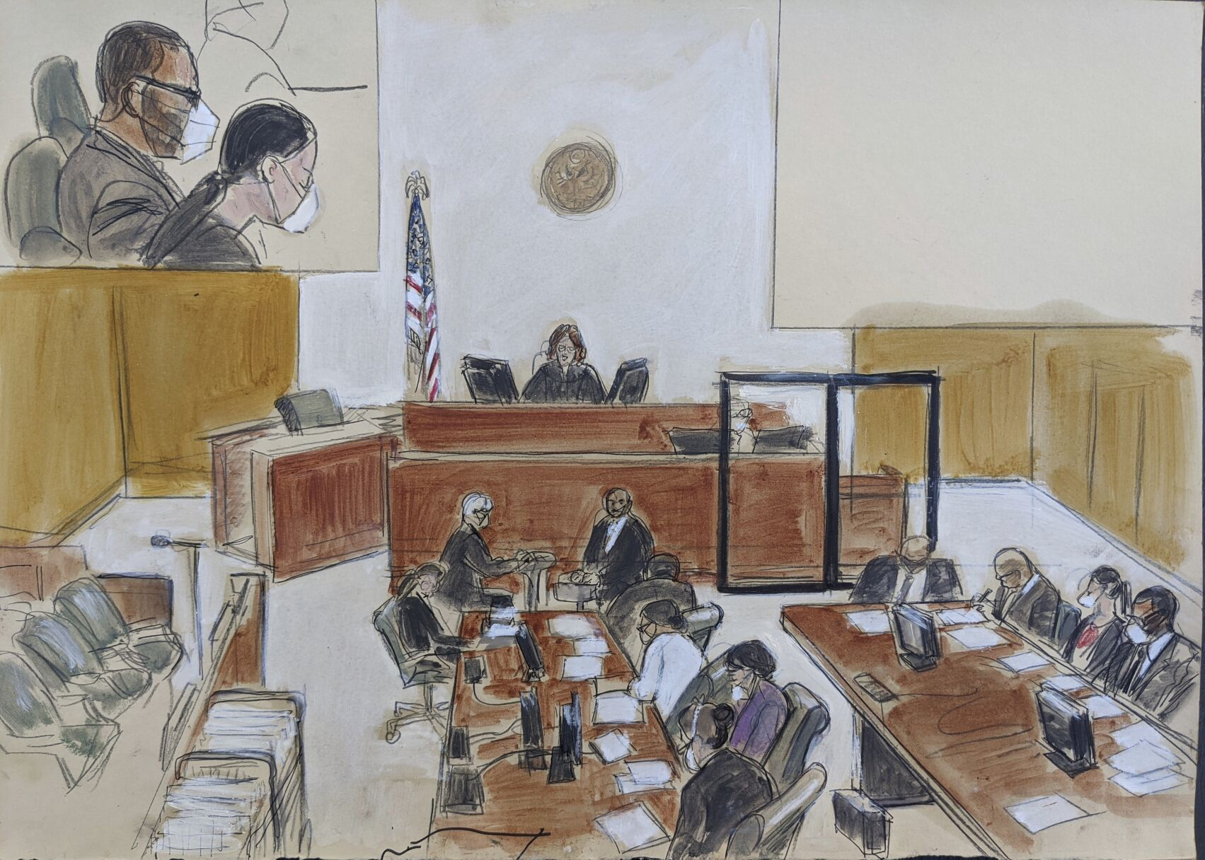 <p>In this courtroom sketch drawn from a video feed, Judge Ann Donnelly sits at the judges bench and reads the instructions to the jury (not visible on the video feed) during R. Kelly's sex trafficking trial, Friday, Sept. 24, 2021, in federal court in New York. R. Kelly is seen in the upper left hand corner inset and is seated lower right.</p>