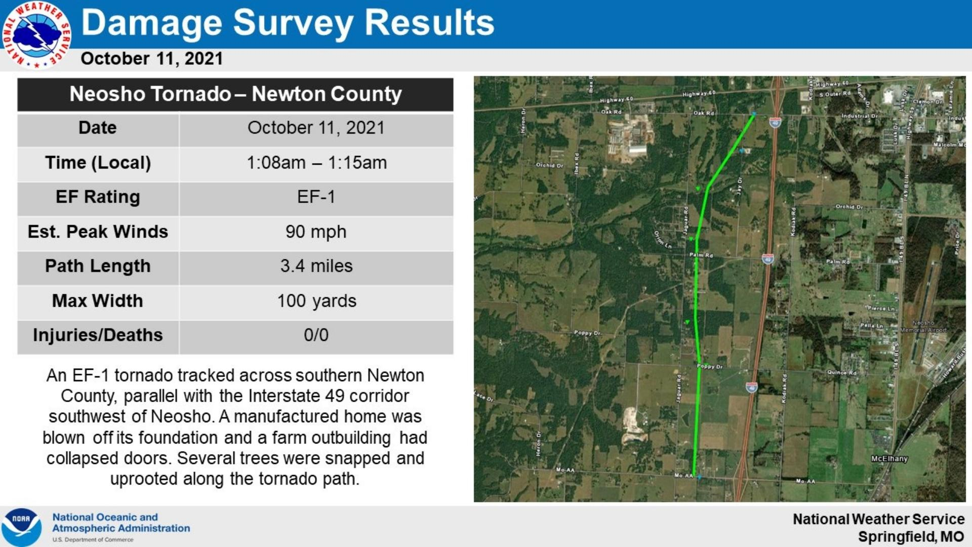 Survey Results For Ef 0 Tornado In Newton County Missouri Oct 11 2021