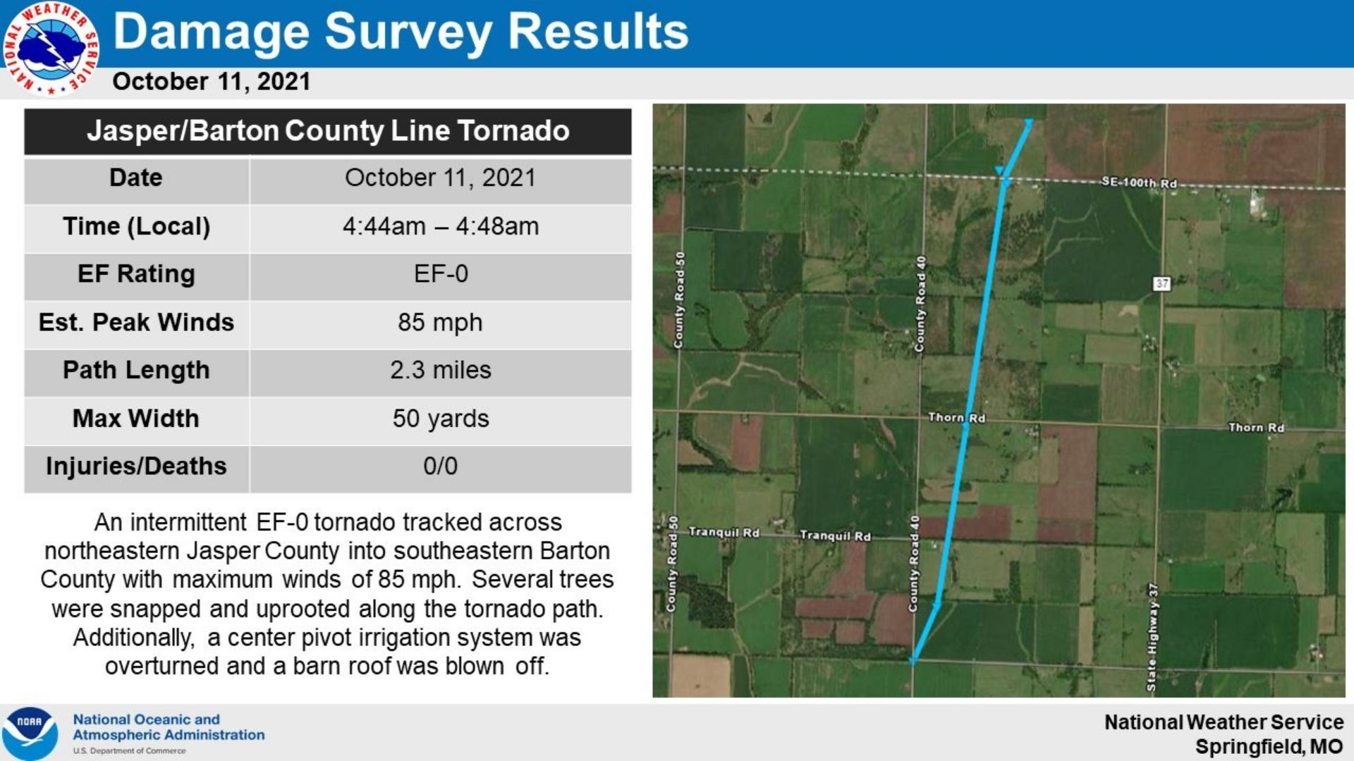 Survey Results For Ef 0 Tornado Along The Jasper County And Barton County Line Oct 11 2021